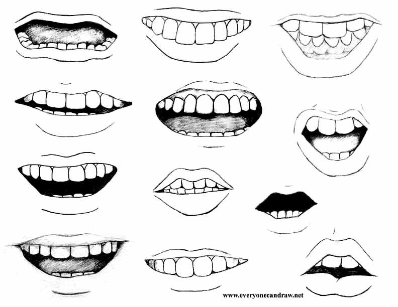 Улыбка с зубами нарисованная карандашом